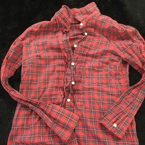 J. Crew Factory red plaid shirt with ruffles